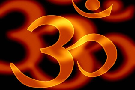 om aum symbol on an orange background photo