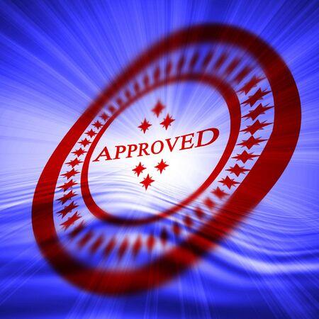 tampon approuv�: Red approuv� timbre sur fond bleu