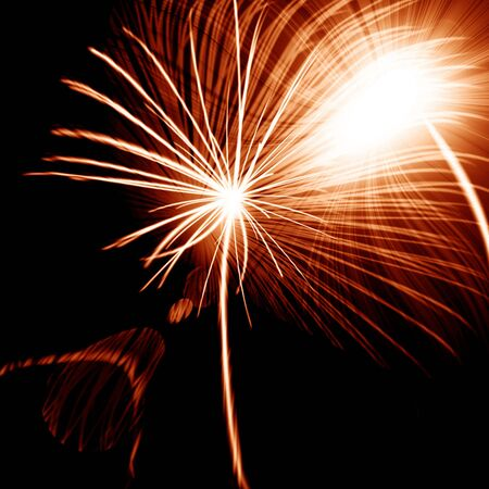 fire works: Fire works on a dark black background Stock Photo
