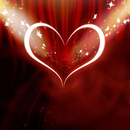 Red heart in the spotlights on a red background photo