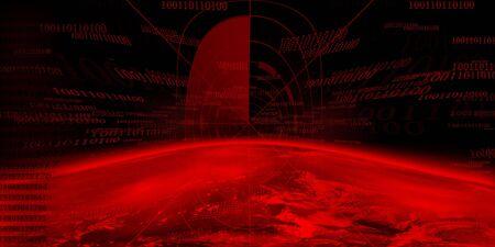 Dangerous world on a dark red background photo