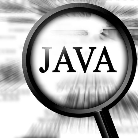java: java with magnifier on a white background