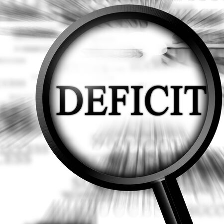 deficit: deficit with magnifier on a white background