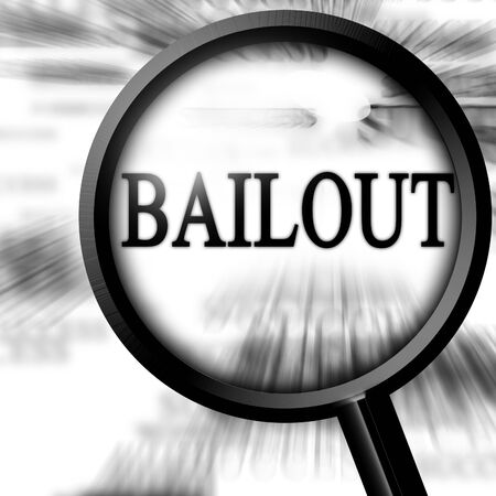 bailout with magnifier on a white background photo
