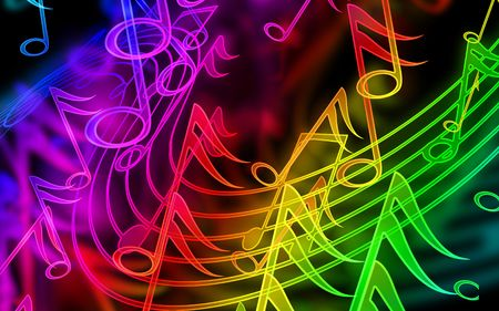 play of color: colorful music notes on a black background Stock Photo