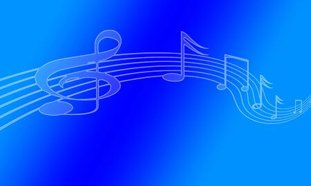 bright music notes on a blue background Stock Photo - 5281517
