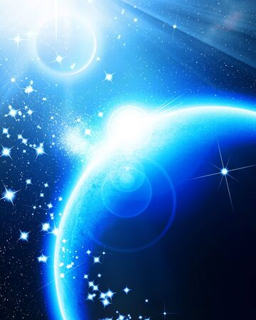 Blue planet in outer space with some sparkles Stock Photo - 5281587