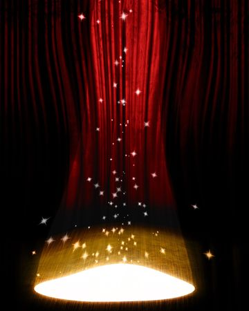 film star: Movie or theater curtain with a bright spotlight on it