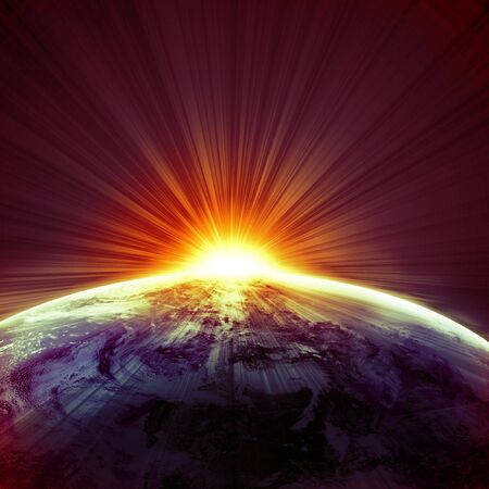 earthlike: sunset on planet earth in outer space
