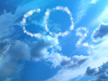 carbonic: white clouds in a clear blue sky with co2