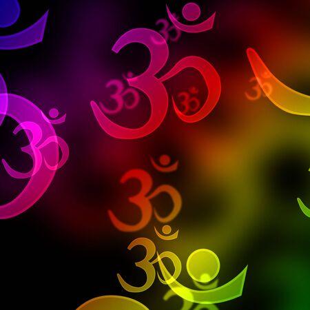 eastern philosophy: om aum symbols on a black background