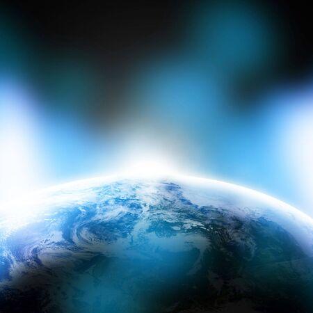 La Tierra vista desde el espacio sobre un fondo azul