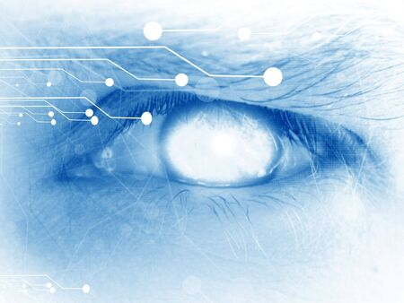 human eye with integrated circuitry in it photo