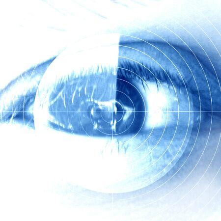 retina scan: eye scan on a soft blue background