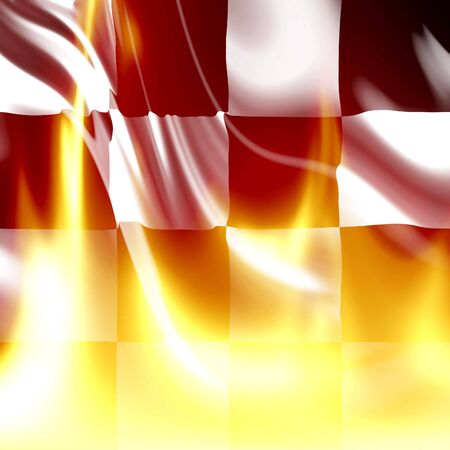 Checkered flag with some bright flames on it Stock Photo - 5398261