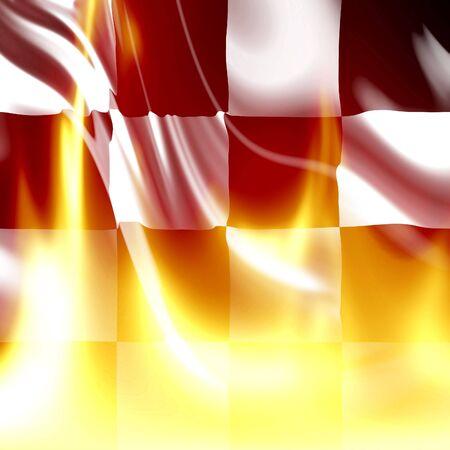 schwarz weiss kariert: Karierten Fahne mit einigen hellen Flammen auf sie Lizenzfreie Bilder