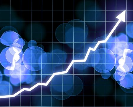 Arrow graph going up on a blue background Фото со стока
