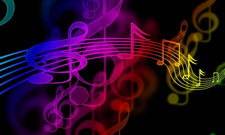 colourful music notes on a black background Stock Photo - 5398057