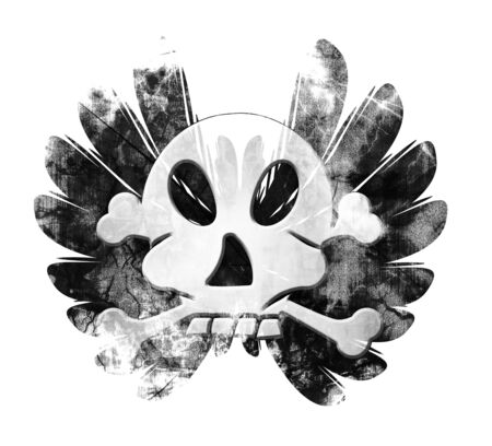pirate skull with wings on a white background Stock Photo - 5398237