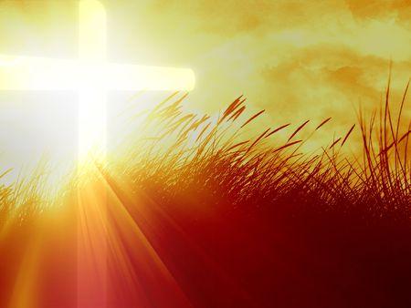 resurrecci�n: barr�n, con una cruz resplandeciente en �l