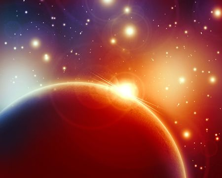 sunrise on a planet in outer space Stock Photo - 5398061