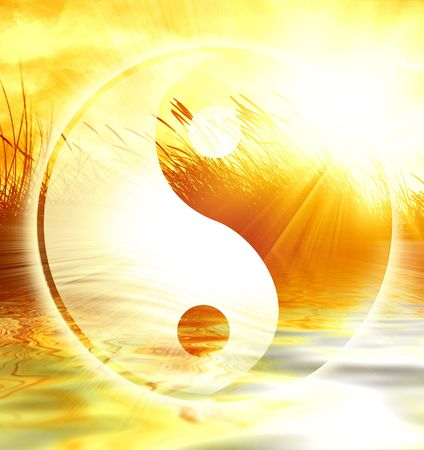 yin yang symbol: peaceful scene with the yin yang sign on it Stock Photo