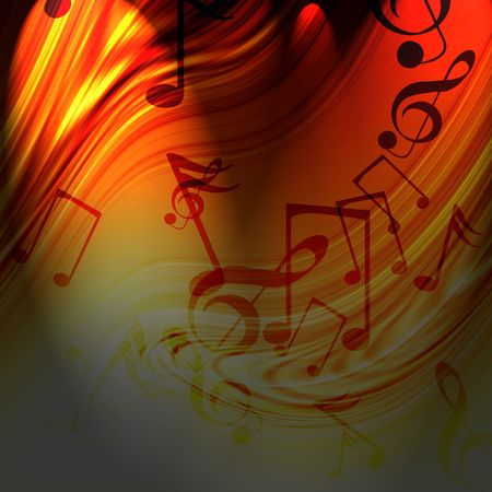 fire show: Abstract flowing fire background with musical notes in it