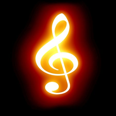fire show: flaming music note on a dark background