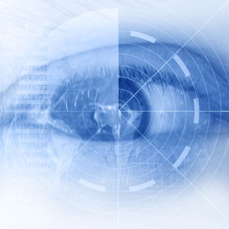 access granted: eye scan on a soft blue background