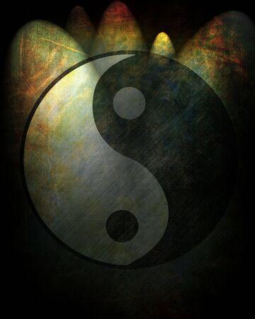 Yin yang symbol on a grunge background photo