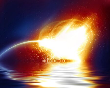 asteroid: meteor strike on a dark blue background