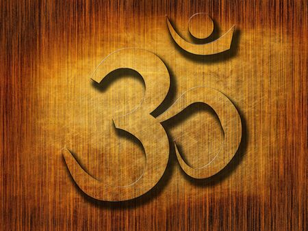 wooden board with the om aum symbol on it photo
