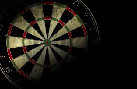 grunge darts board on a black background