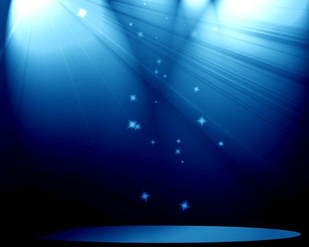 famous actor: Stage with spotlight and sparkles on a blue background