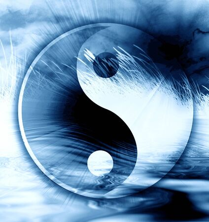 ying: peaceful scene with the yin yang sign on it Stock Photo