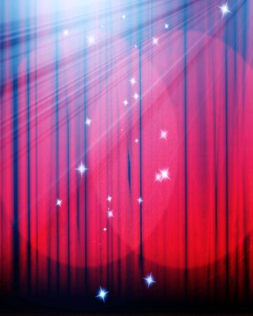famous writer: Movie or theater curtain with double spotlight