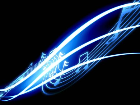 music event: music notes on a dark black background Stock Photo