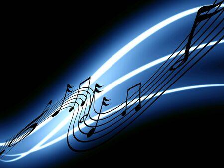 digital music: music notes on a dark black background Stock Photo