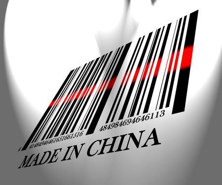 Barcode made in china on a white background photo