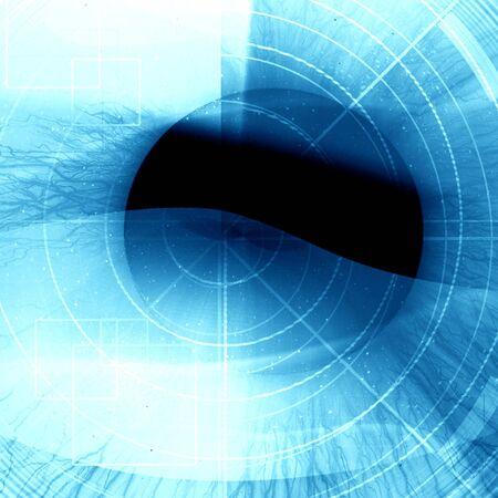 Eye being scanned on a blue background Stock Photo - 5598020