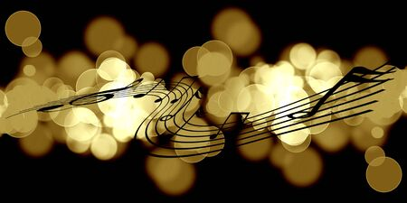 melody: music notes and golden circles on a dark background
