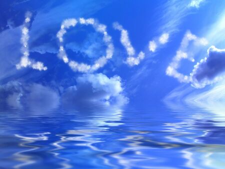 white clouds in a blue sky with love photo