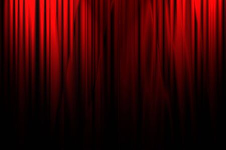 hollywood: Movie or theater curtain with souble spotlight Stock Photo