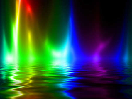 whirling: rainbow flames on a dark black background