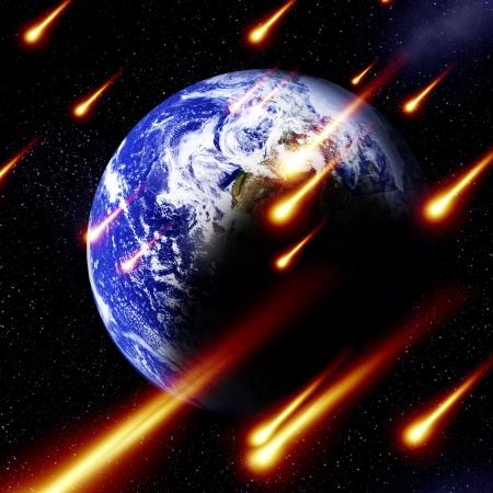 meteor shower on a dark black background photo