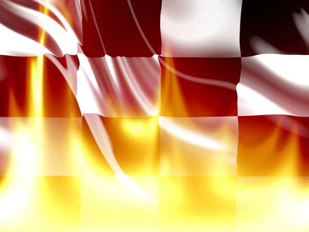 black and white flag with some bright flames on it Stock Photo - 5598375