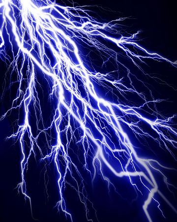 lightning strike: Lightning flash on a dark black background
