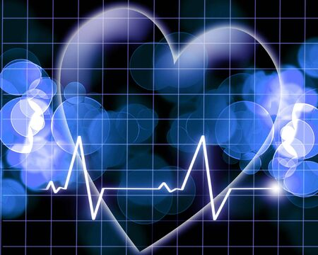 Heart beat on a monitor on a dark background photo