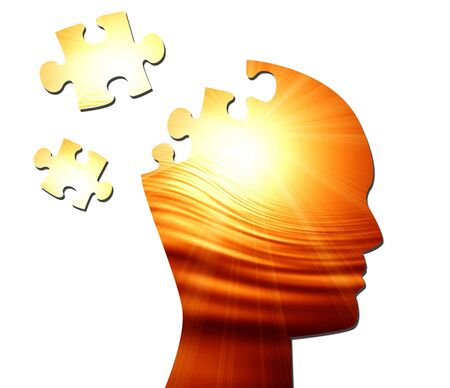 psychiatry: Human head silhouette with focus on the brain Stock Photo