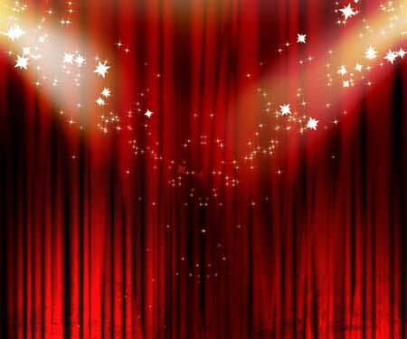 famous actor: Movie or theatre curtain with double spotlight